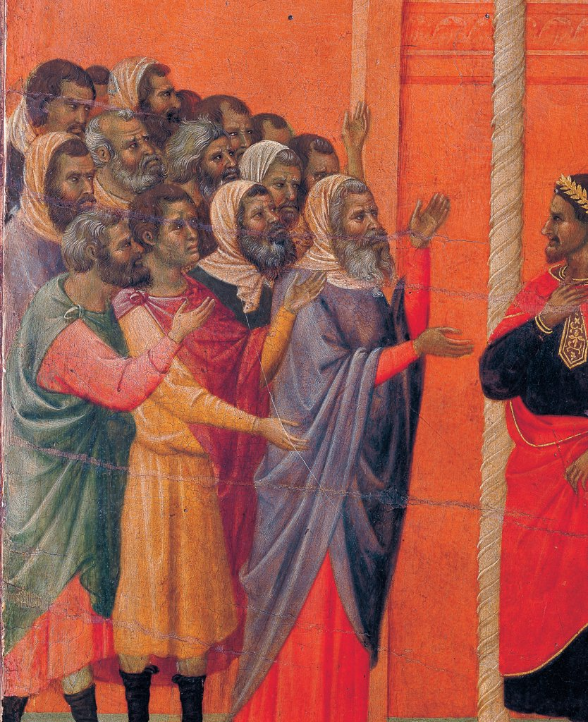 Stock Photo: 1899-45951 The Maesta, front, by Duccio di Buoninsegna, 1308 - 1311, 14th Century, tempera on panel. Italy. Tuscany. Siena. Cathedral. Verso, lower fascia, seventh panel at the top of Christ Accused by the Pharisees. Group of men with hands and arms raised accusing Jesus. Column and Pilate. Red background.