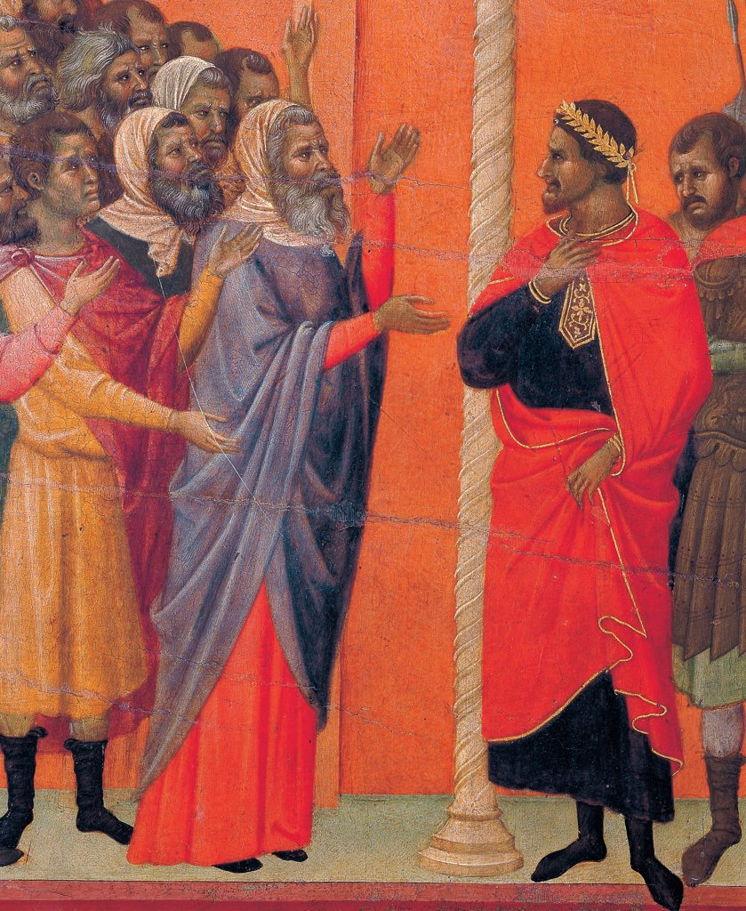 Stock Photo: 1899-45952 The Maesta, front, by Duccio di Buoninsegna, 1308 - 1311, 14th Century, tempera on panel. Italy: Tuscany: Siena: Cathedral. Verso, lower fascia, seventh panel at the top. Christ Accused by the Pharisees. Group of men with hands and arms raised accusing Jesus. Column and Pilate as mediator. Red background.
