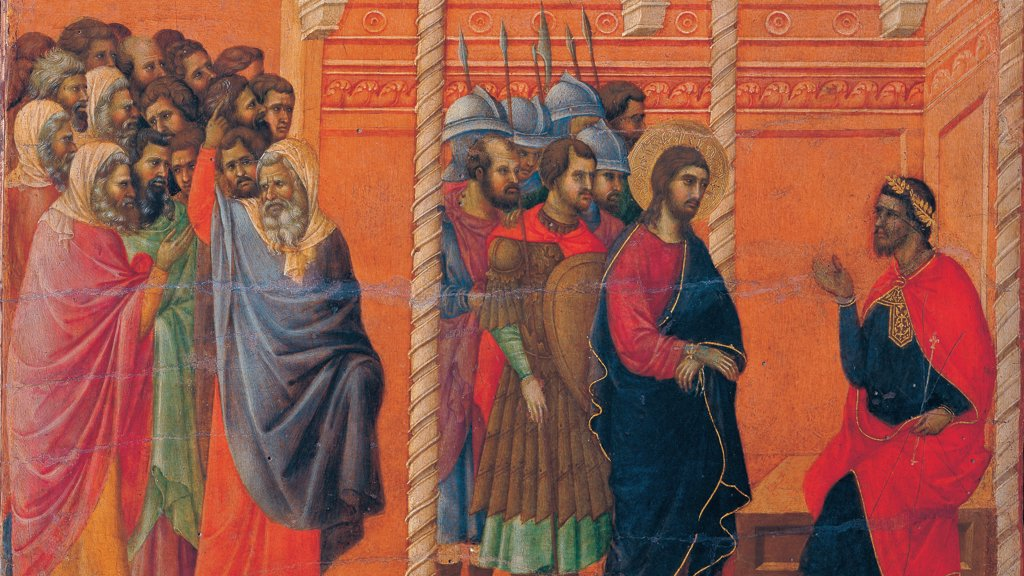 Stock Photo: 1899-45954 The Maesta, front, by Duccio di Buoninsegna, 1308 - 1311, 14th Century, tempera on panel. Italy. Tuscany. Siena. Cathedral. Verso, lower fascia, seventh panel in the bottom. Detail of Pilate's First Interrogation of Christ. Jesus with aureole/halo and tied hands, escorted by a group of soldiers with elm and lance. They stand before Pontius Pilate, sitting on podium on the right. Red background.