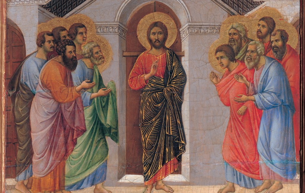 Stock Photo: 1899-45955 The Maesta, front, by Duccio di Buoninsegna, 1308 - 1311, 14th Century, tempera on panel. Italy. Tuscany. Siena. Cathedral. Verso cups. All of Appearance Behind Locked Doors. Christ blessing, at the center. Two groups of apostles on sides.