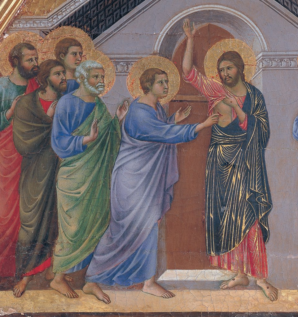 Stock Photo: 1899-45956 The Maesta, front, by Duccio di Buoninsegna, 1308 - 1311, 14th Century, tempera on panel. Italy. Tuscany. Siena. Cathedral. Verso cups. Detail of Doubting Thomas. Apostles on sides. At the center Thomas putting his finger into Jesus' chest. Stigmata on hands and feet, elegant and well-finished dresses/garments.