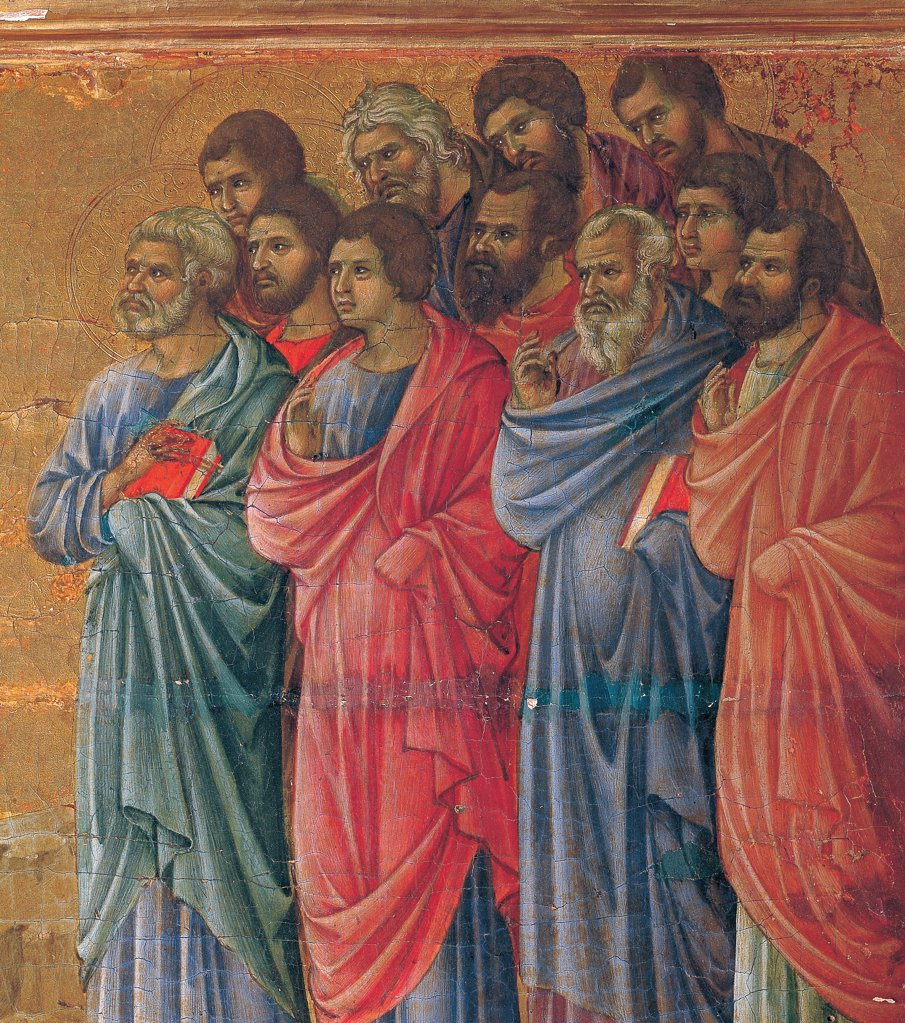 Stock Photo: 1899-45957 The Maesta, front, by Duccio di Buoninsegna, 1308 - 1311, 14th Century, tempera on panel. Italy. Tuscany. Siena. Cathedral. Verso cups, third panel from the right. Detail of Appearance on the Mountain in Galilee. Group of men, apostles with their conventional symbols, wearing garish dresses/garments.