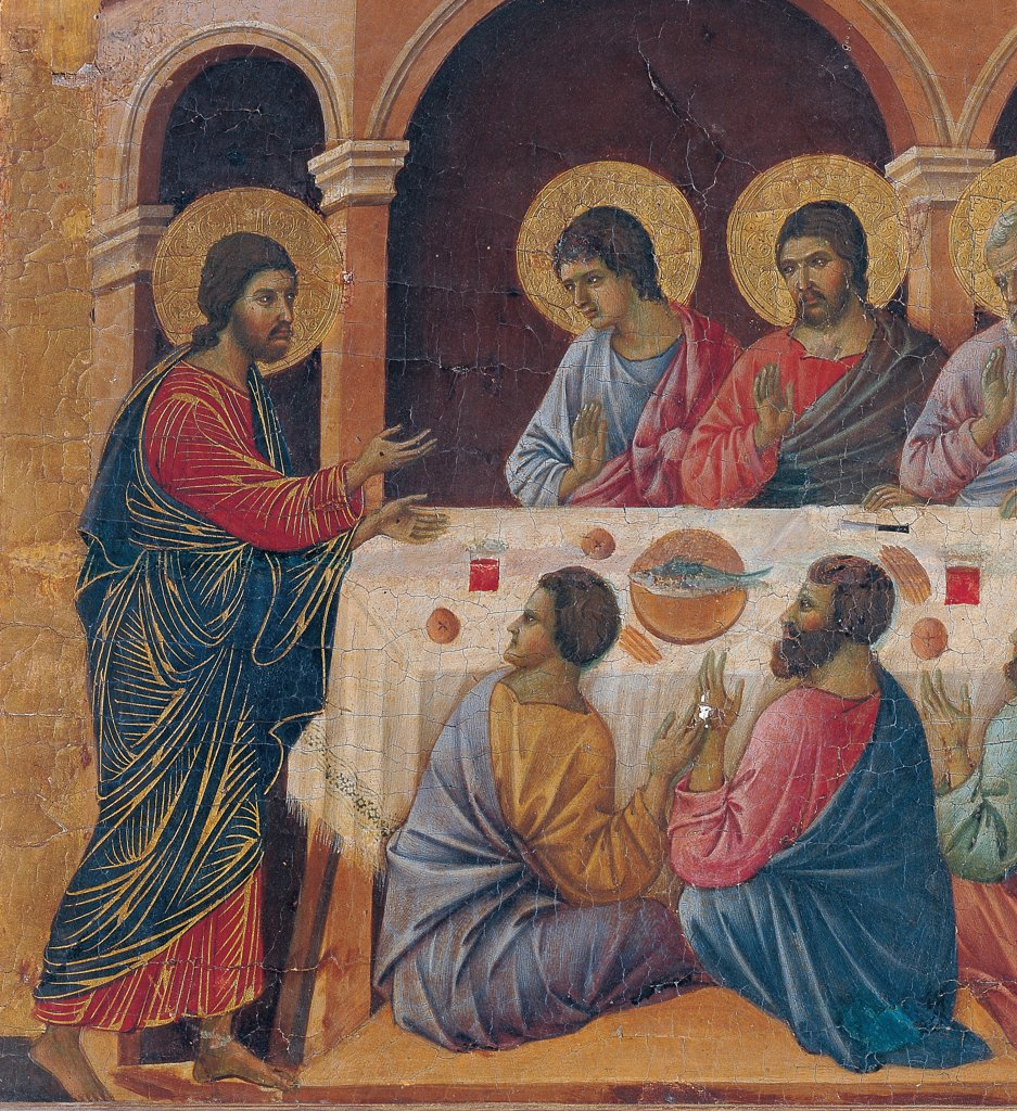 The Maesta, front, by Duccio di Buoninsegna, 1308 - 1311, 14th Century, tempera on panel. Italy. Tuscany. Siena. Cathedral. Verso cups, second panel from the right. All of Appearance While the Apostles are at Table. Apostles sitting around a laid table. Jesus standing to the side. Arcades of a building in the background. : Stock Photo