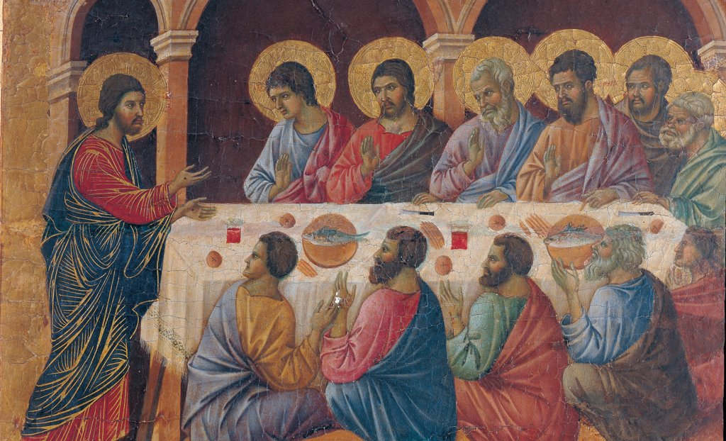 Stock Photo: 1899-45960 The Maesta, front, by Duccio di Buoninsegna, 1308 - 1311, 14th Century, tempera on panel. Italy. Tuscany. Siena. Cathedral. Verso cups, second panel from the right. All of Appearance While the Apostles are at Table. Apostles sitting around a laid table. Jesus standing to the side. Arcades of a building in the background.