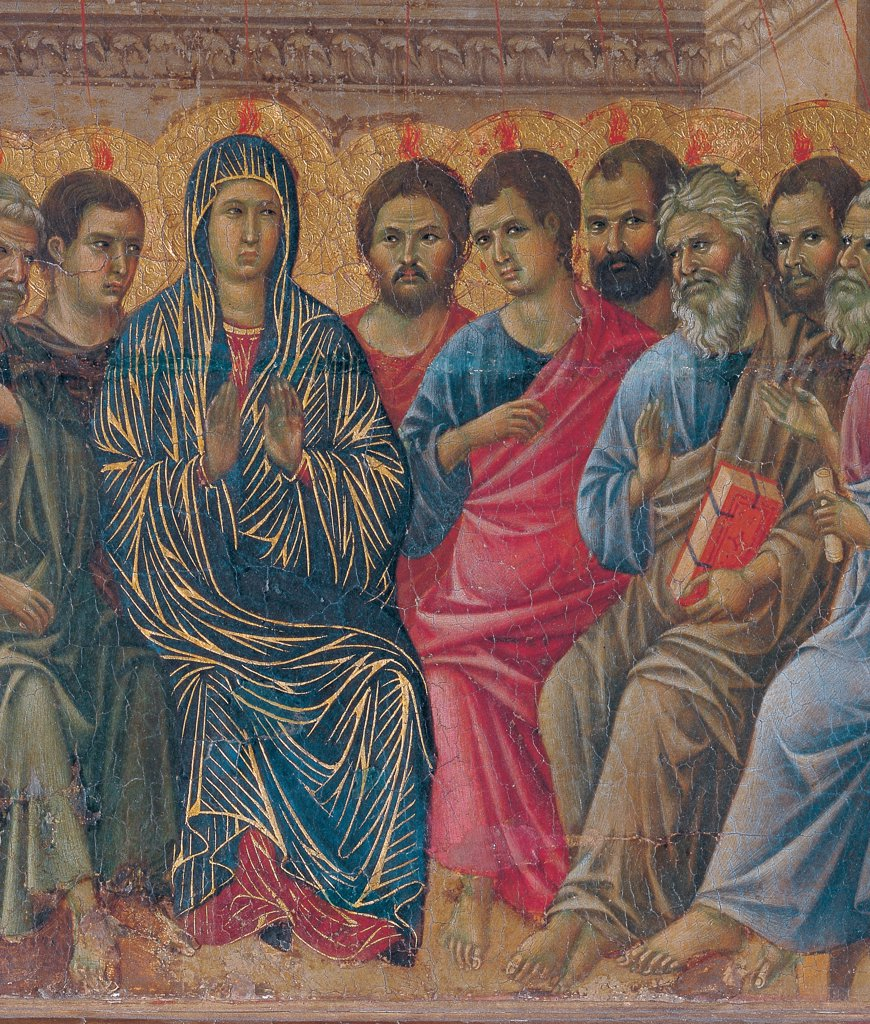 Stock Photo: 1899-45962 The Maesta, front, by Duccio di Buoninsegna, 1308 - 1311, 14th Century, tempera on panel. Italy. Tuscany. Siena. Cathedral. Verso cups. All of The Holy Ghost/Holy Spirit Descending. At the center the Virgin Mary. The apostles to the sides. Descent of the Holy Ghost/Holy Spirit as flame of fire on everybody. Figures sitting in a room.