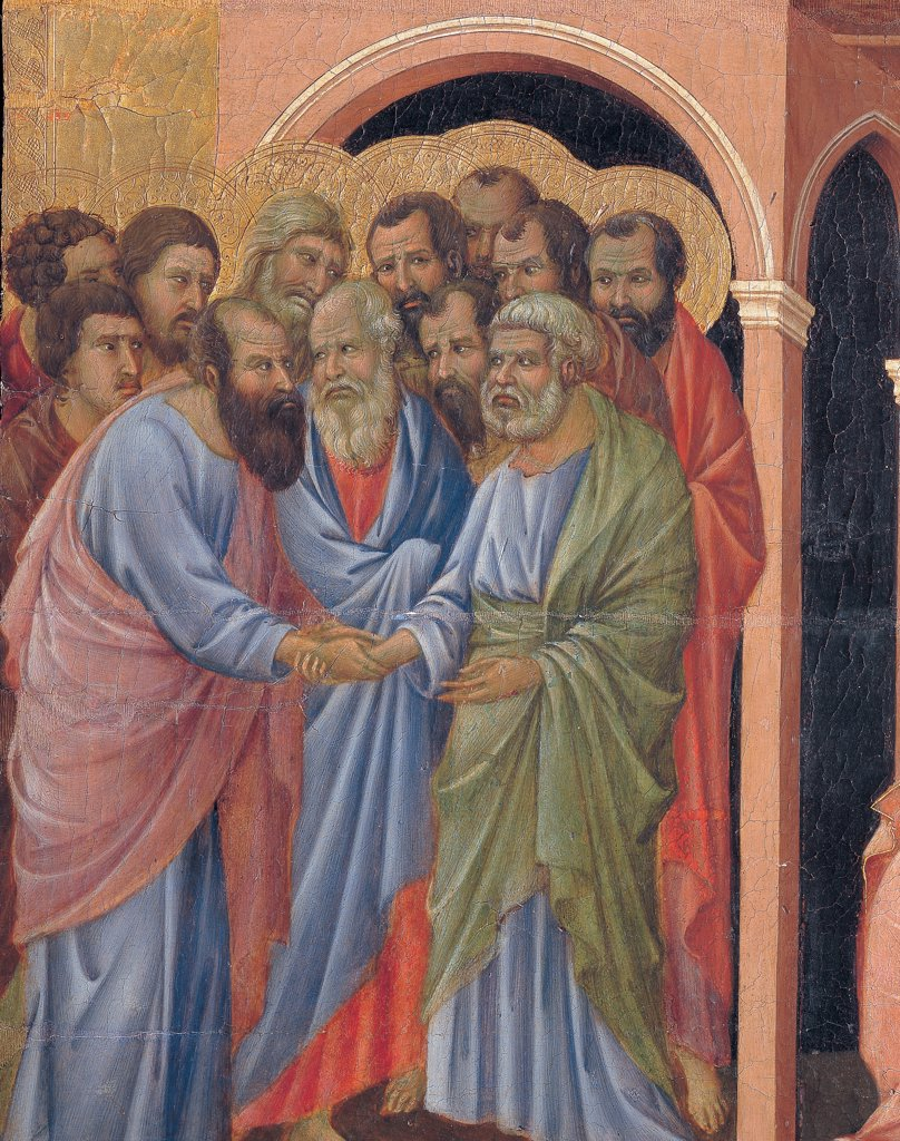 Military Parade at Campo di Marte, by Duccio di Buoninsegna, 1308 - 1311, 14th Century, tempera on panel, with gold ground. Italy. Tuscany. Siena. Cathedral. Front, crown cusp/spire, second panel from the left. Detail of The Miraculous Arrival of the Apostles to the House of Virgin Mary. Group of men came to the house of the Virgin. : Stock Photo