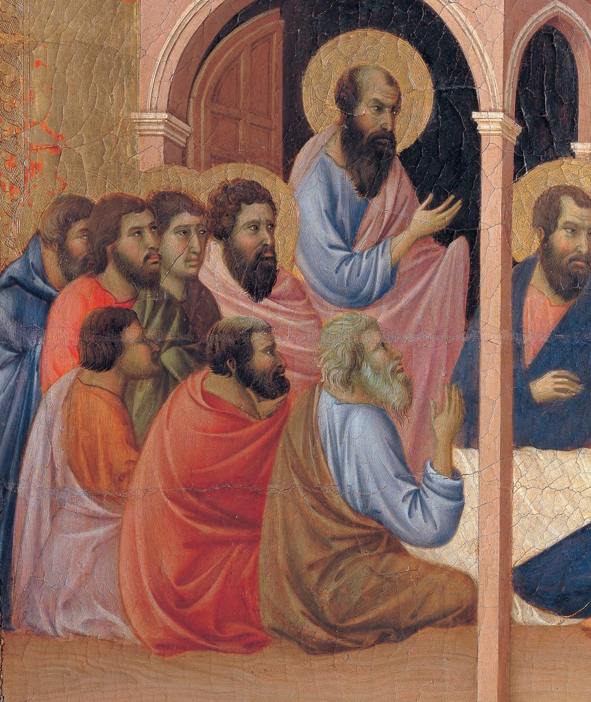 Stock Photo: 1899-45969 Military Parade at Campo di Marte, by Duccio di Buoninsegna, 1308 - 1311, 14th Century, tempera on panel, with gold ground. Italy. Tuscany. Siena. Cathedral. Front, crown cusp/spire, third panel from the left. Detail of The Miraculous Arrival of the Apostles to the House of Virgin Mary. Group of men, the apostles/prophets are gathered at the foot of the bed of the Virgin.