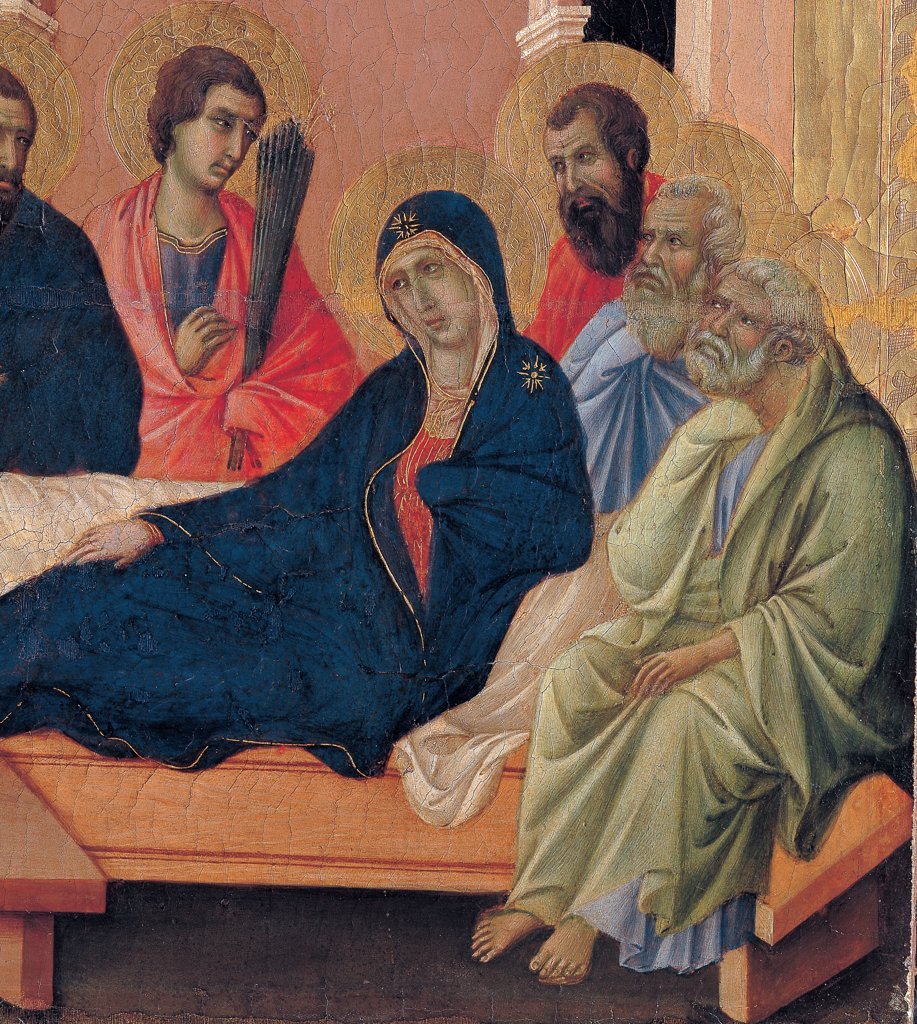 Military Parade at Campo di Marte, by Duccio di Buoninsegna, 1308 - 1311, 14th Century, tempera on panel, with gold ground. Italy. Tuscany. Siena. Cathedral. Front, cups, third panel from the left. All of Parting from the Apostles. Mary lying down on bed in her room, surrounded by the apostles. : Stock Photo