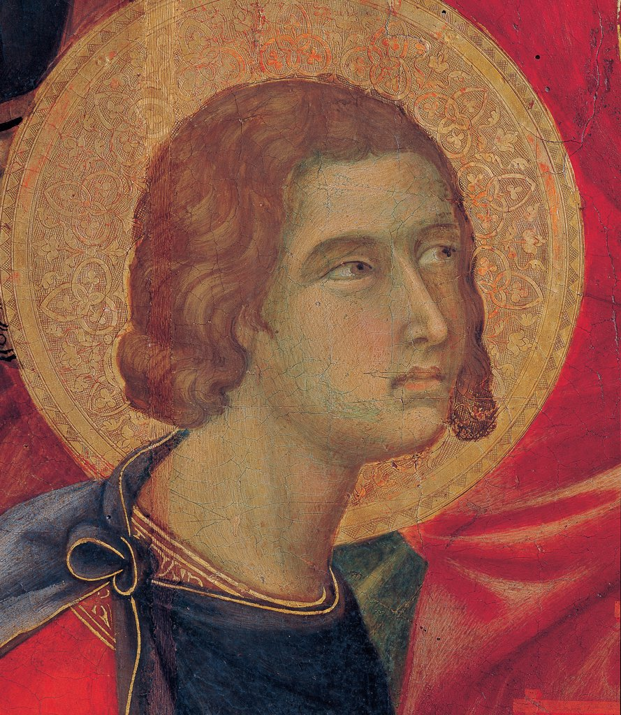 Stock Photo: 1899-45976 Military Parade at Campo di Marte, by Duccio di Buoninsegna, 1308 - 1311, 14th Century, tempera on panel, with gold ground. Italy. Tuscany. Siena. Cathedral. Front, main register. Detail of face of one of the four patron saints, Siena. St.Ansanus with aureole/halo.
