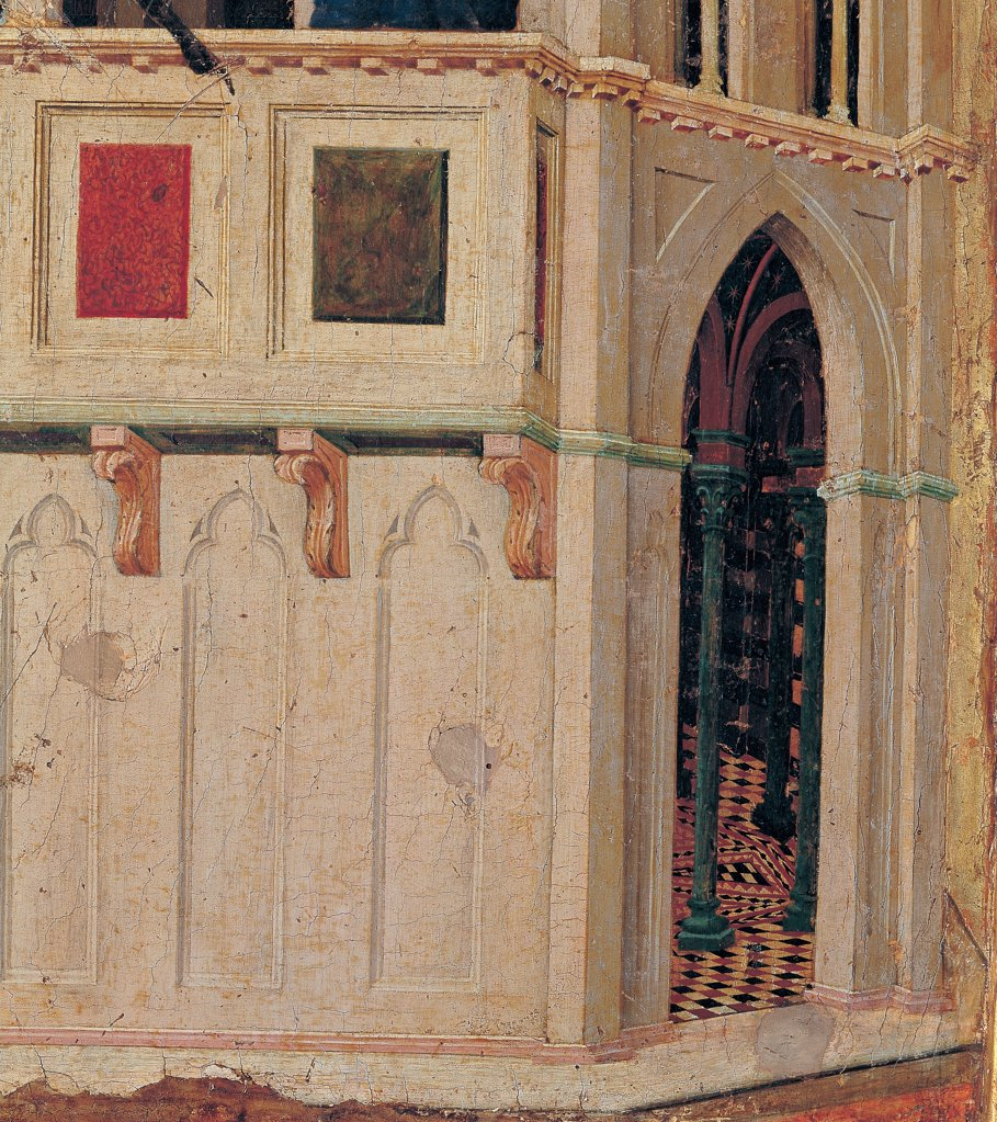The Maesta, front, by Duccio di Buoninsegna, 1308 - 1311, 14th Century, tempera on panel. Italy. Tuscany. Siena. Cathedral. Verso, panel of the predella. Deatil of Temptation on the Temple. Architectural details, Gothic style building, which we can see the decorated interior. : Stock Photo