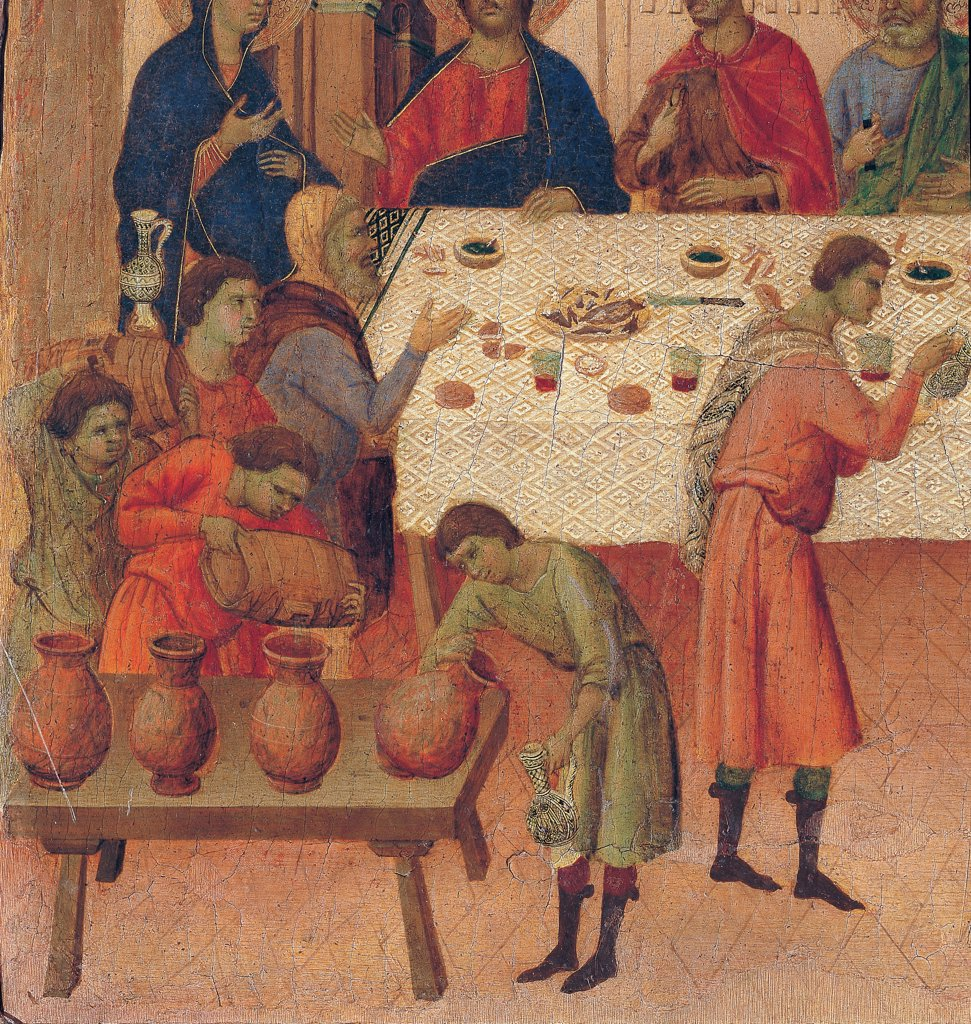 Stock Photo: 1899-45980 The Maesta, front, by Duccio di Buoninsegna, 1308 - 1311, 14th Century, tempera on panel. Italy. Tuscany. Siena. Cathedral. Verso, predella panel. Detail of Wedding at Cana. The servants pour wine out of the carafes and put it on the laid table.
