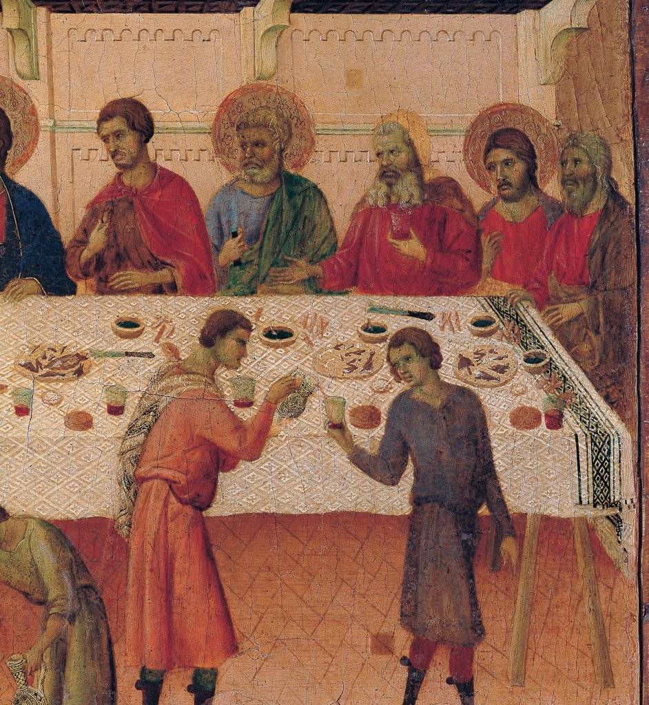The Maesta, front, by Duccio di Buoninsegna, 1308 - 1311, 14th Century, tempera on panel. Italy. Tuscany. Siena. Cathedral. Verso, predella panel. Detail of Wedding at Cana. Wedding banquet guests around the laid table in a lavish room. The servants pour the wine. : Stock Photo