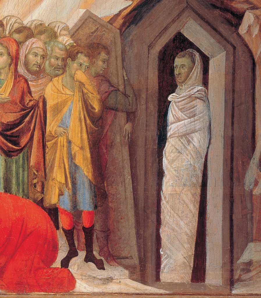 Stock Photo: 1899-45983 The Maesta, front, by Duccio di Buoninsegna, 1308 - 1311, 14th Century, tempera on panel. Italy. Tuscany. Siena. Cathedral. Verso, predella panel. All of Resurrection of Lazarus. Jesus with a gesture of his hand raises Lazarus from the dead. The man, wrapped in linen strips, comes out of the grave. Dialogue between Jesus and Martha. Mary falls down at Jesus' feet. Assistants remove with difficulty the stone of the sepulcher. The figures cover their face because of the odour emanating from the to