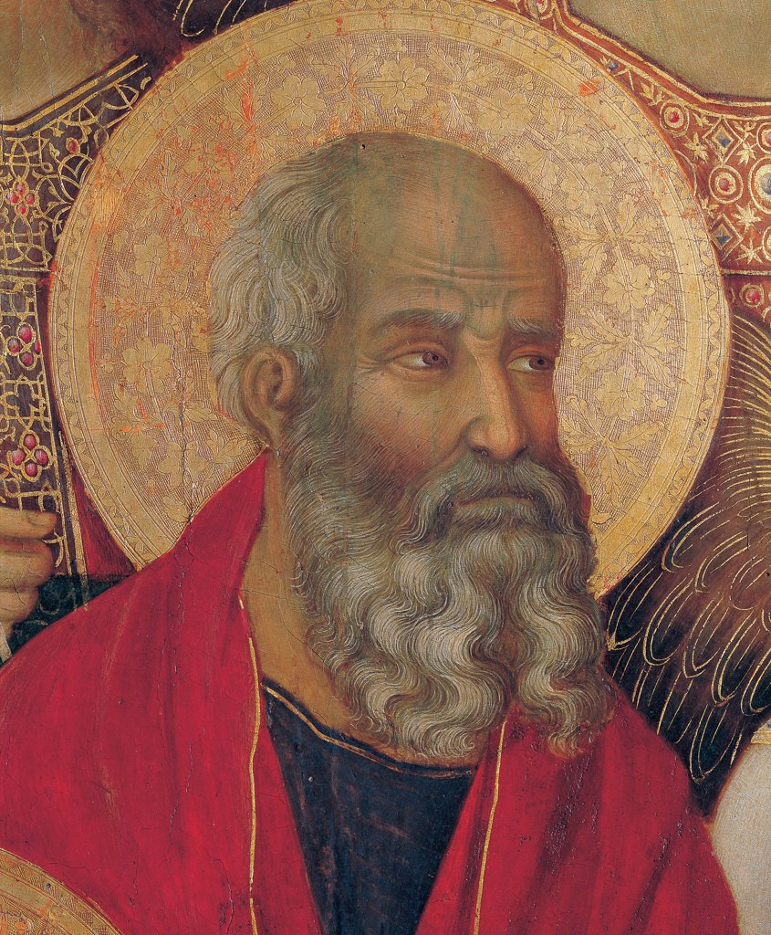 Military Parade at Campo di Marte, by Duccio di Buoninsegna, 1308 - 1311, 14th Century, tempera on panel, with gold ground. Italy. Tuscany. Siena. Cathedral. Front, main register. Detail of face of St.John Evangelist, bearded man wearing red mantle/cloak. : Stock Photo
