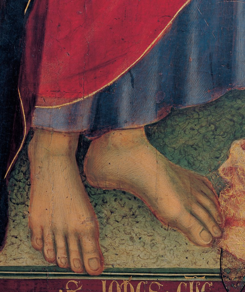 Military Parade at Campo di Marte, by Duccio di Buoninsegna, 1308 - 1311, 14th Century, tempera on panel, with gold ground. Italy. Tuscany. Siena. Cathedral. Front, main register. Detail of bare feet of St.John the Evangelist. The hem of blue dress/garment and red mantle/cloak. In the bottom, part of the inscription of the saint's name. : Stock Photo