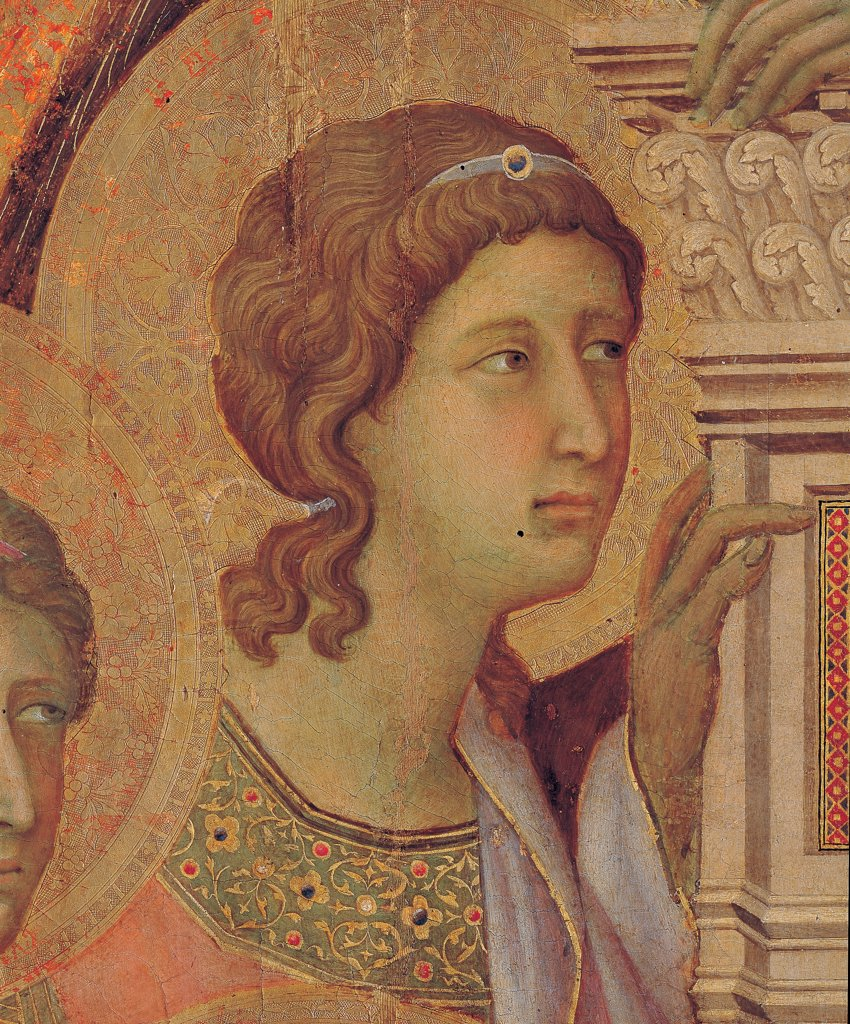 Military Parade at Campo di Marte, by Duccio di Buoninsegna, 1308 - 1311, 14th Century, tempera on panel, with gold ground. Italy. Tuscany. Siena. Cathedral. Front, main register. Detail of face of the angel to the left of the throne pillaret. : Stock Photo