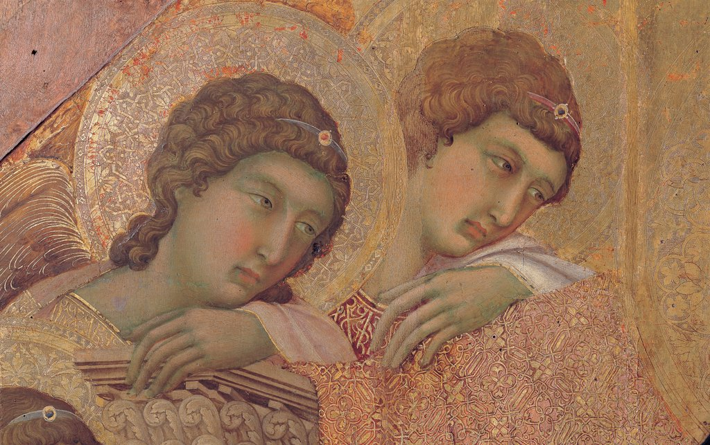 Stock Photo: 1899-45989 Military Parade at Campo di Marte, by Duccio di Buoninsegna, 1308 - 1311, 14th Century, tempera on panel, with gold ground. Italy. Tuscany. Siena. Cathedral. Front, main register. Detail of faces of angels holding on to the left summit of the throne.