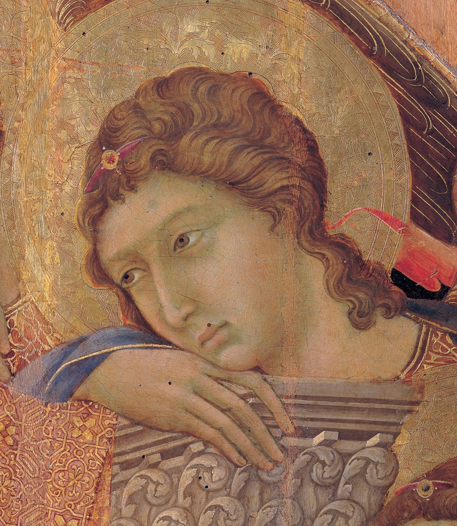 Stock Photo: 1899-45991 Military Parade at Campo di Marte, by Duccio di Buoninsegna, 1308 - 1311, 14th Century, tempera on panel, with gold ground. Italy. Tuscany. Siena. Cathedral. Front, main register. Detail of face of an angel holding on to the right leaf motif pillaret of the throne.