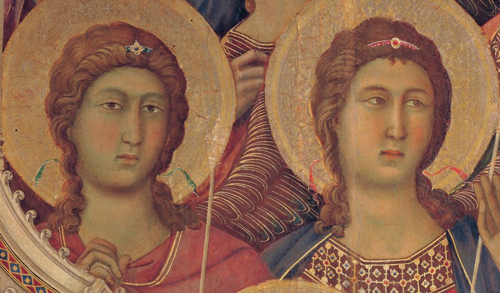 Stock Photo: 1899-45993 Military Parade at Campo di Marte, by Duccio di Buoninsegna, 1308 - 1311, 14th Century, tempera on panel, with gold ground. Italy. Tuscany. Siena. Cathedral. Front, main register. Detail of faces of angels wearing red and blue mantle/cloak to the right of the throne