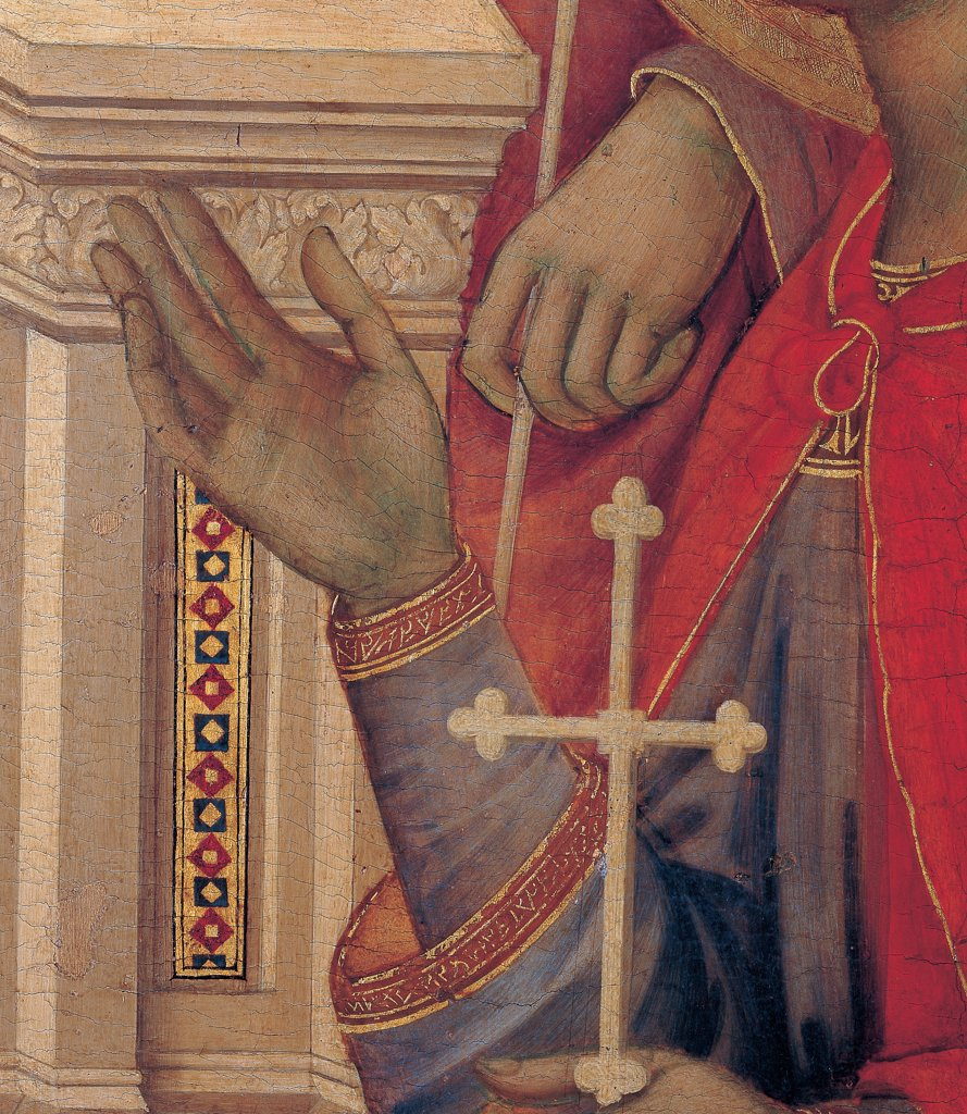 Military Parade at Campo di Marte, by Duccio di Buoninsegna, 1308 - 1311, 14th Century, tempera on panel, with gold ground. Italy. Tuscany. Siena. Cathedral. Front, main register. Detail of St.Crescentius' hands holding a cross. Red mantle/cloak and throne. : Stock Photo