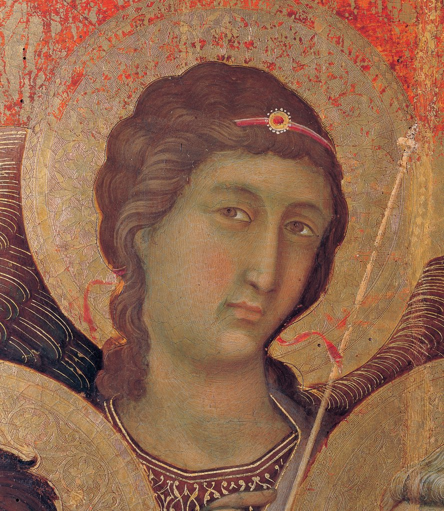 Military Parade at Campo di Marte, by Duccio di Buoninsegna, 1308 - 1311, 14th Century, tempera on panel, with gold ground. Italy. Tuscany. Siena. Cathedral. Front, main register. Detail of face of an angel to the right of the throne. : Stock Photo