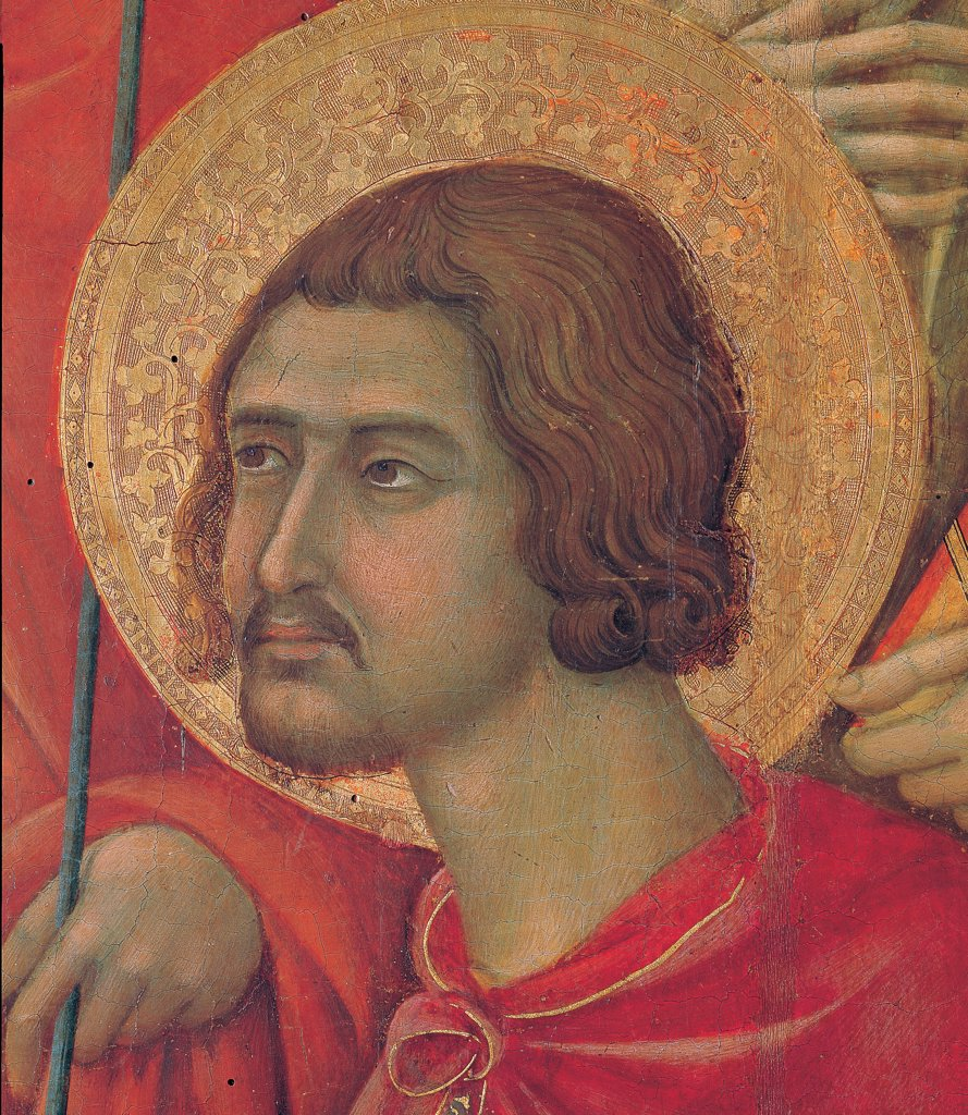 Stock Photo: 1899-45998 Military Parade at Campo di Marte, by Duccio di Buoninsegna, 1308 - 1311, 14th Century, tempera on panel, with gold ground. Italy. Tuscany. Siena. Cathedral. Front, main register. Detail of face of St.Victor with aureole/halo and red mantle/cloak.