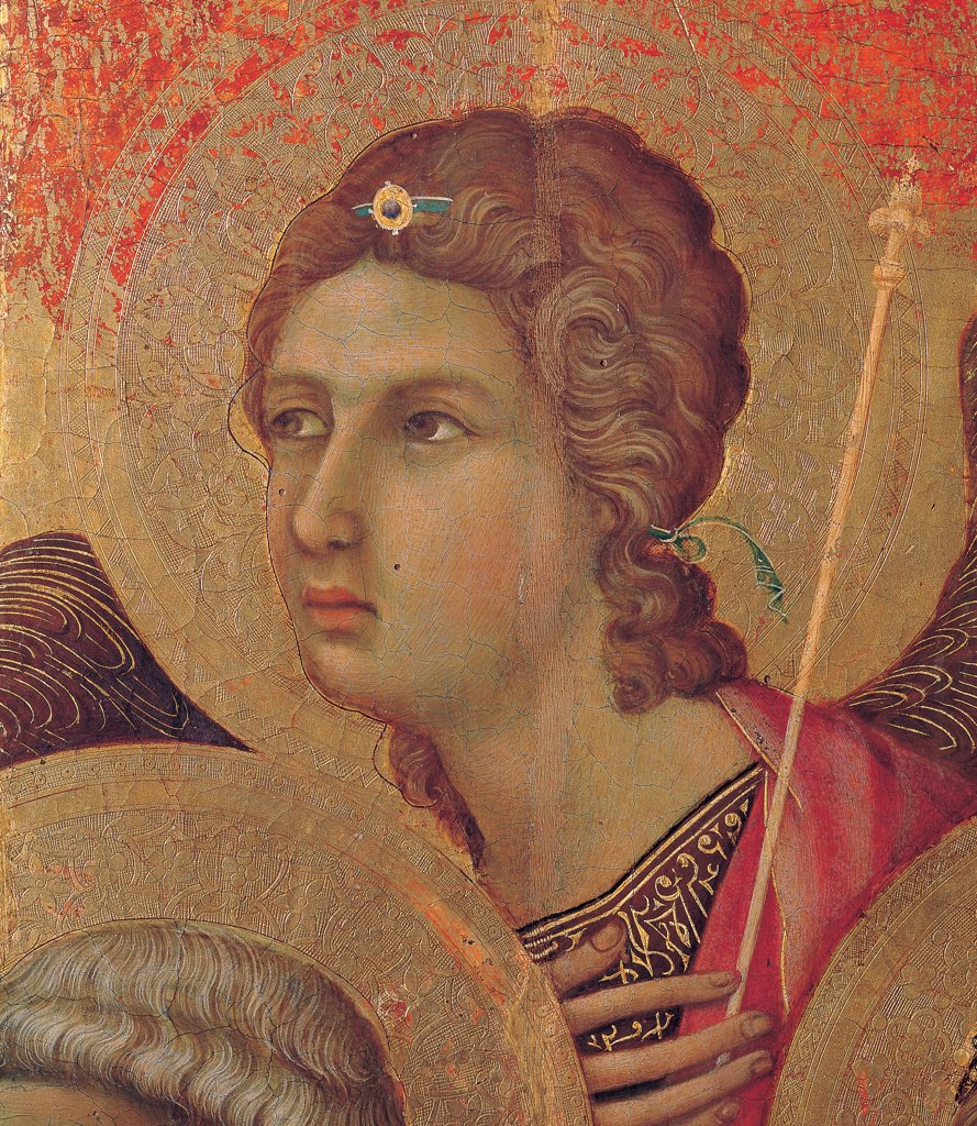 Stock Photo: 1899-46001 Military Parade at Campo di Marte, by Duccio di Buoninsegna, 1308 - 1311, 14th Century, tempera on panel, with gold ground. Italy. Tuscany. Siena. Cathedral. Front, main register. Detail of face of the second angel to the right of the throne.