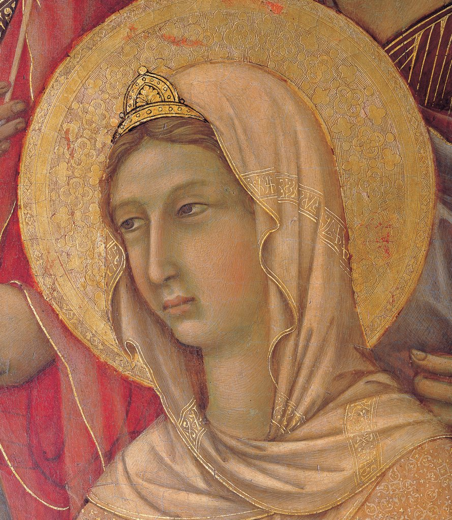 Military Parade at Campo di Marte, by Duccio di Buoninsegna, 1308 - 1311, 14th Century, tempera on panel, with gold ground. Italy. Tuscany. Siena. Cathedral. Front, main register. Detail of face of St.Agnes with veil and crown : Stock Photo