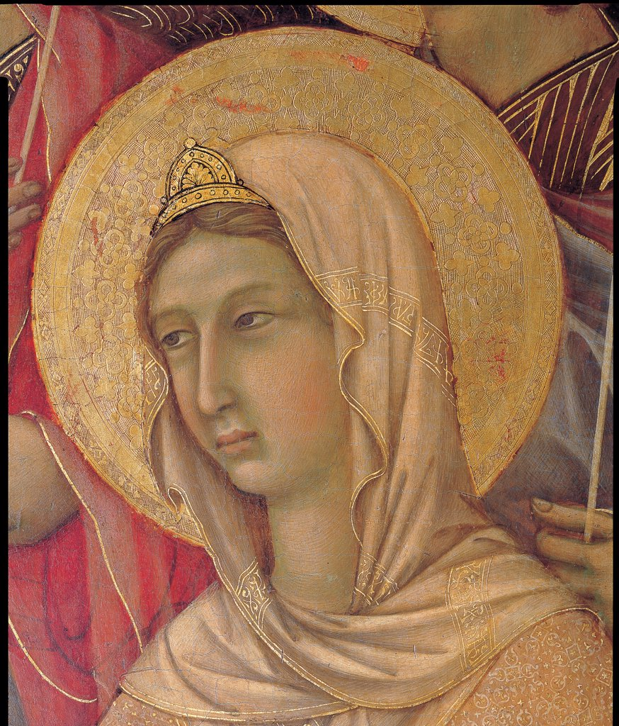 Stock Photo: 1899-46003 Military Parade at Campo di Marte, by Duccio di Buoninsegna, 1308 - 1311, 14th Century, tempera on panel, with gold ground. Italy. Tuscany. Siena. Cathedral. Front, main register. Detail of the face of St.Agnes with veil and crown on the head