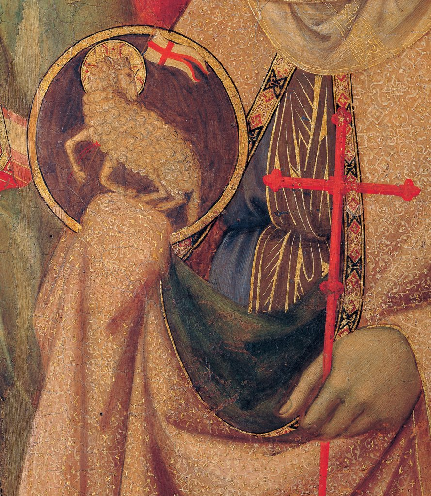 Military Parade at Campo di Marte, by Duccio di Buoninsegna, 1308 - 1311, 14th Century, tempera on panel, with gold ground. Italy. Tuscany. Siena. Cathedral. Front, main register. Detail of the hands of St.Agnes holding the Mystic Lamb and a cross : Stock Photo