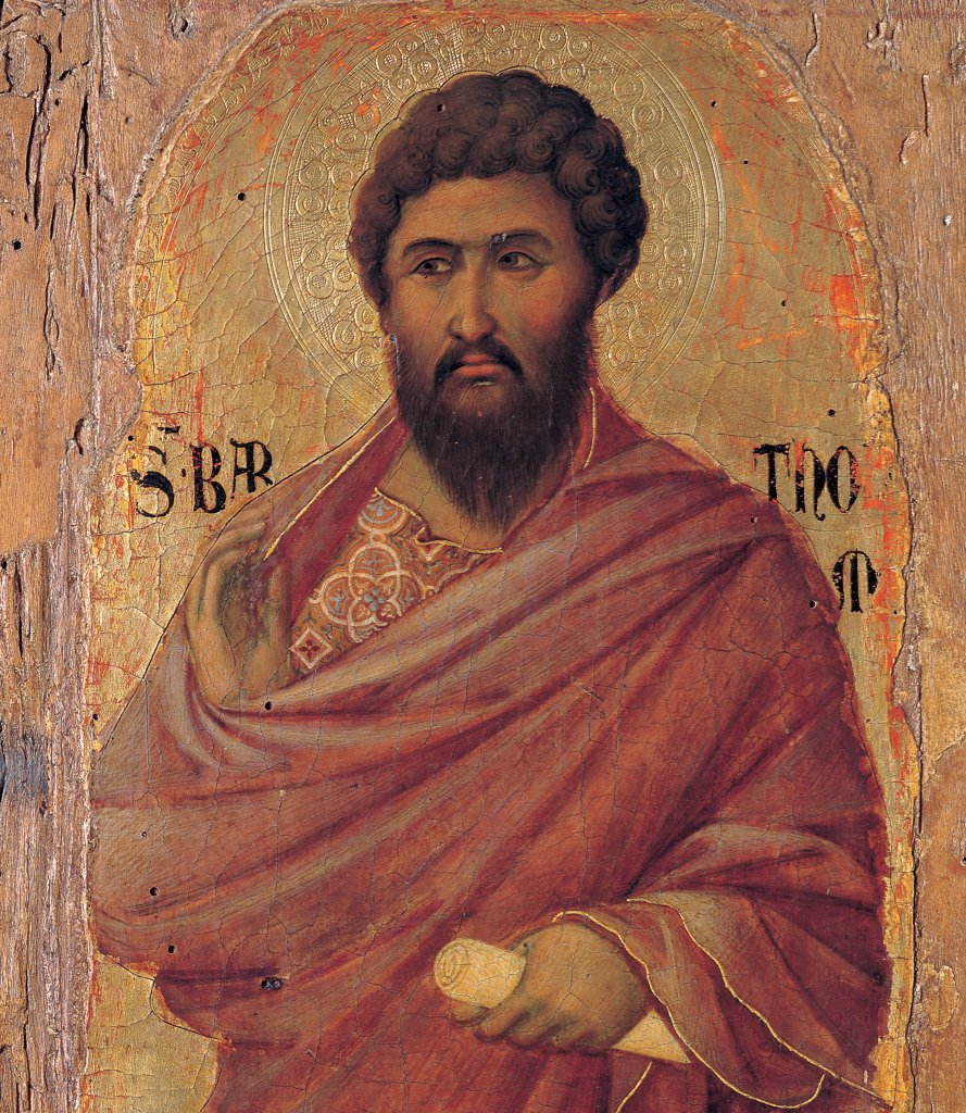 Military Parade at Campo di Marte, by Duccio di Buoninsegna, 1308 - 1311, 14th Century, tempera on panel, with gold ground. Italy. Tuscany. Siena. Cathedral. Front, right arcade. Detail of half-length St.Bartholomew wearing brown dress/garment and holding a cartouche. Inscription, name of the saint. : Stock Photo