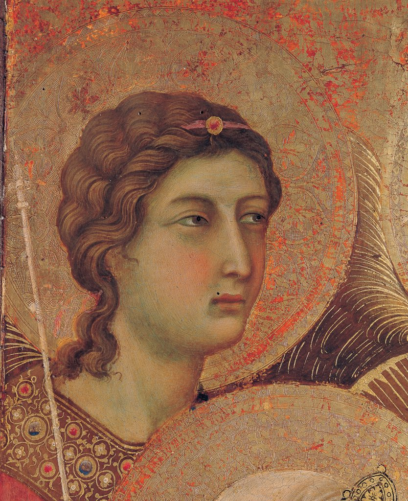 Military Parade at Campo di Marte, by Duccio di Buoninsegna, 1308 - 1311, 14th Century, tempera on panel, with gold ground. Italy. Tuscany. Siena. Cathedral. Front, main register. Detail of face of the first angel top left. : Stock Photo