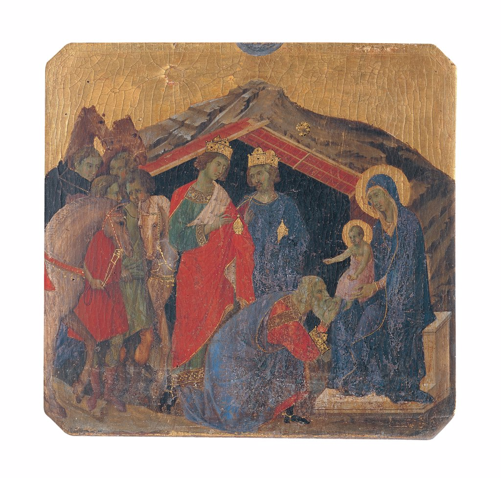 Military Parade at Campo di Marte, by Duccio di Buoninsegna, 1308 - 1311, 14th Century, tempera on panel, with gold ground. Italy. Tuscany. Siena. Cathedral. Front, predella. All of Adoration of the Magi. The Magi/Three Wise Men/Three Kings/Kings from the East reaching the hut. They wearing showy dresses/garments and crowns and bringing gifts to Jesus Baby Jesus/Christ Child/Child Jesus in the arms of Mary. Servants, horses and camels. : Stock Photo