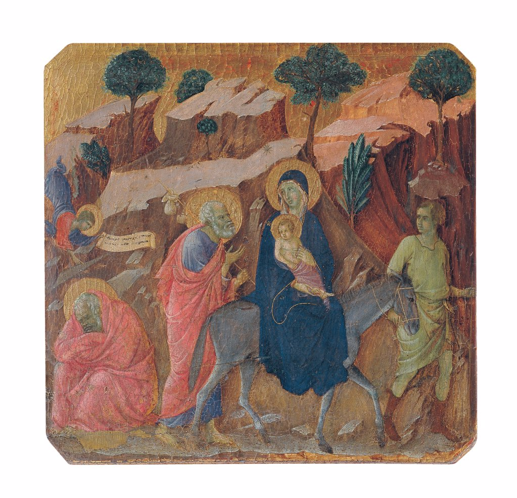 Stock Photo: 1899-46015 Military Parade at Campo di Marte, by Duccio di Buoninsegna, 1308 - 1311, 14th Century, tempera on panel, with gold ground. Italy. Tuscany. Siena. Cathedral. Front, predella panel. All of Flight into Egypt. On the left, an angel warns Joseph in a dream to escape. On the right, Mary and Jesus Baby Jesus/Christ Child/Child Jesus on donkey back drew by a servant. Behind, Joseph with a pack on shoulders. Rocky mountains and trees.