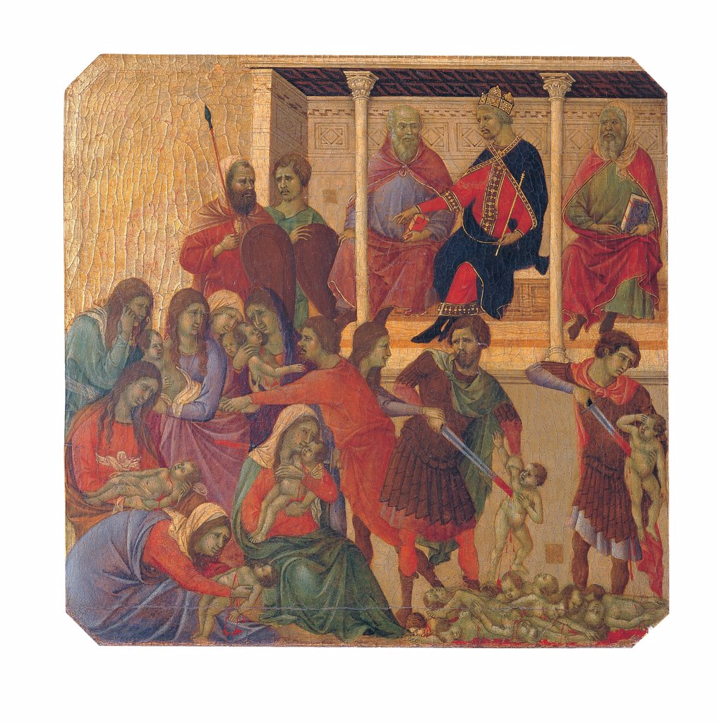 Military Parade at Campo di Marte, by Duccio di Buoninsegna, 1308 - 1311, 14th Century, tempera on panel, with gold ground. Italy. Tuscany. Siena. Cathedral. Front, predella panel. All of Slaughter of the Innocents. Herod sitting on the throne with crown and scepter orders the slaughter of children two years old and younger. Mothers weeping, sons slaughtered by soldiers with swords. : Stock Photo
