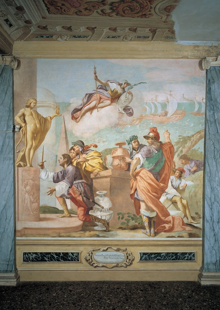 Lycaon, son of Antenore, consecrates his dagger to Apollo at Delfi, by Ferrari Luca, 1650, 17th Century, fresco. Italy: Veneto: Padua: Battaglia Terme: Villa Selvatico Emo Capodilista. Whole artwork. Lycaon consecration dagger statue Apollo altar amphora group men fleet ships boats sea helmet armor/cuirass breastplate cloak/mantle laurel : Stock Photo