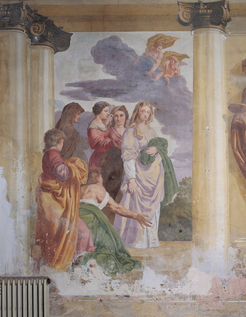 Stock Photo: 1899-46093 Psyche Worshipped as a Goddess, by Van Dyck Daniel, 17th Century, fresco. Italy: Veneto: Venice: Mira: Villa Venier Contarini: foresteria di destra. Whole artwork. Group women worship/veneration Psyche goddess veils garment/dress green violet/purple brown red sky clouds putti columns reverence
