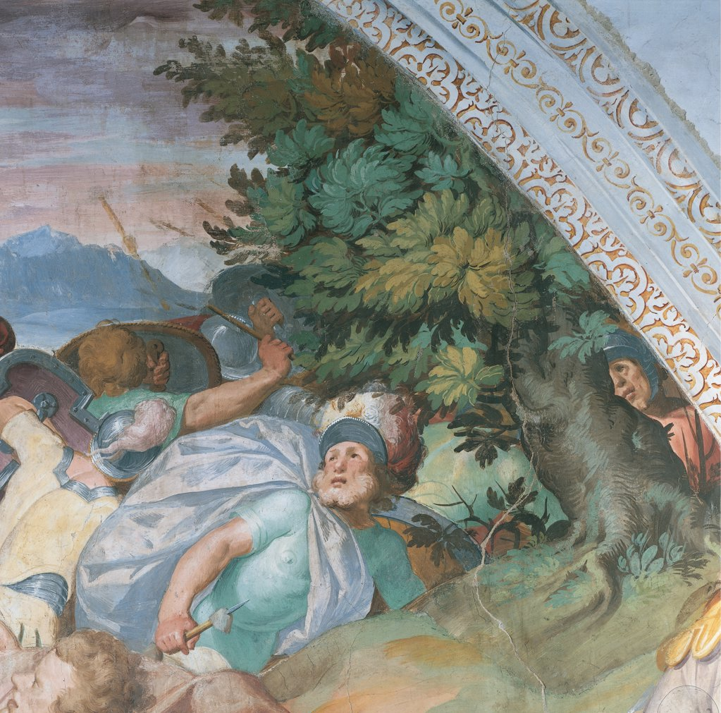 Oratory of the Gonfalone of Saul on the Road to Damascus, by Crespi Giovan Battista known as Cerano, 16th Century, fresco. Italy: Piemonte: Novara: Trecate: Gonfalone Oratory. Detail. Man guard cloak/mantle spear/lance helmet armor/cuirass tree green light blue/azure : Stock Photo
