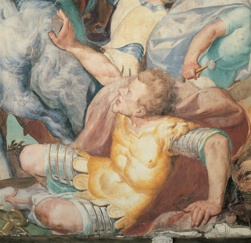 Stock Photo: 1899-46146 Oratory of the Gonfalone of Saul on the Road to Damascus, by Crespi Giovan Battista known as Cerano, 16th Century, fresco. Italy: Piemonte: Novara: Trecate: Gonfalone Oratory. Detail. Warrior yellow armor/cuirass cloak/mantle orange fall ground earth horse's hoofs Saul Paul