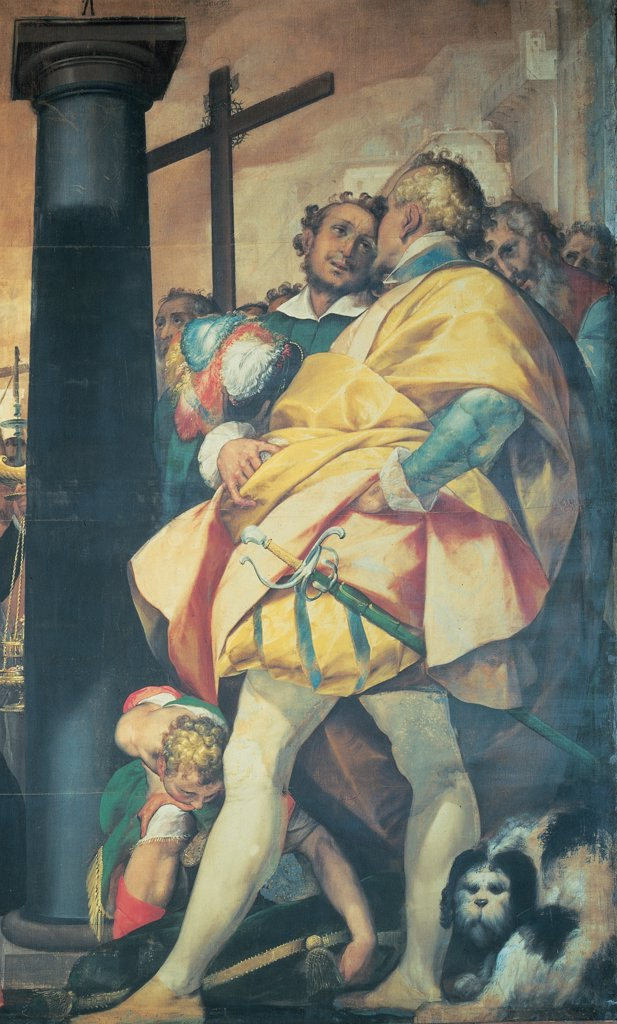 Scenes from the Life of St Charles of Erection of the Crosses in Milan, by Crespi Giovan Battista known as Cerano, 1602 - 1603, 17th Century, tempera on canvas. Italy: Lombardy: Milan: Santa Maria Nascente Dome Cathedral. Detail. Cloak/mantle cross column yellow sword scabbard dog cushion group men : Stock Photo