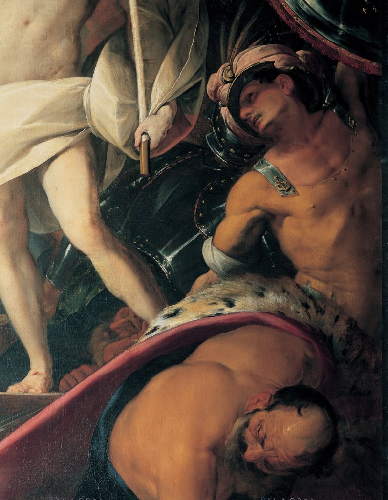 Resurrection, by Crespi Giovan Battista known as Cerano, 1610, 17th Century, oil on canvas. Italy: Lombardy: Milan: Sant'Antonio Abate church. Detail. Two soldiers bodies muscles back fur helmet cuirass armor chiaroscuro legs Resurrected Christ : Stock Photo