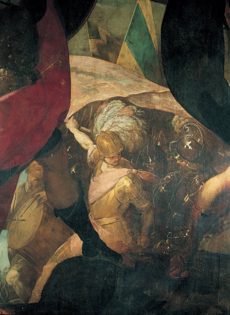 Disobedience of Jonathan, by Crespi Giovan Battista known as Cerano, 1618, 17th Century, oil on canvas. Italy: Lombardy: Milan: San Raffaele church. Detail. Central figure soldiers warriors helmet cuirass yellow gold flag standard/banner plumes drum : Stock Photo