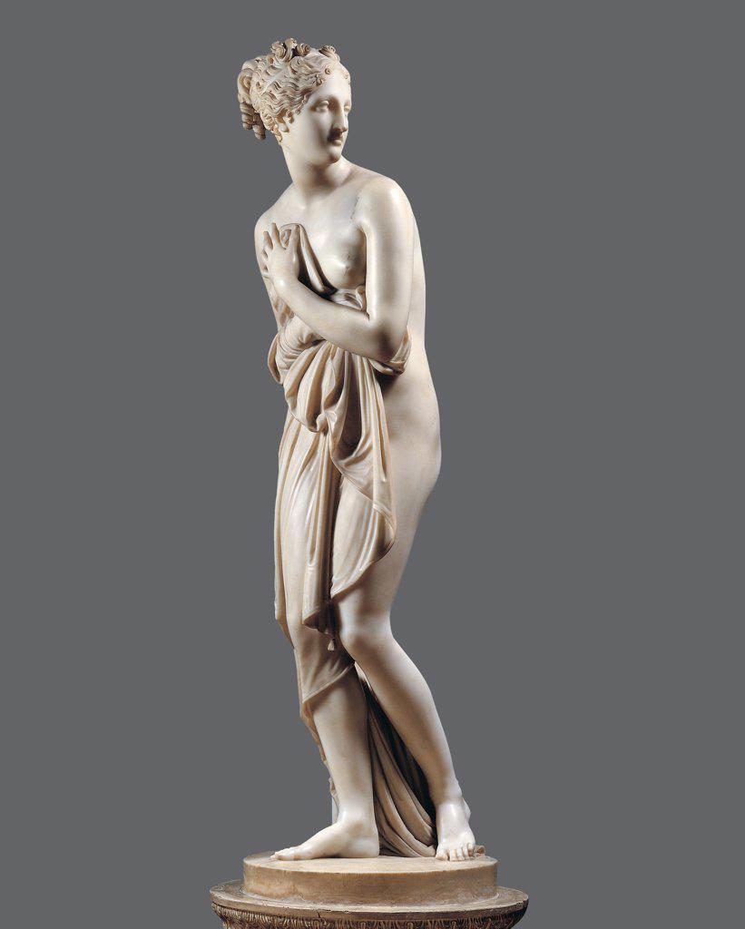 Stock Photo: 1899-46170 Venus Italica, by Canova Antonio, 1804 - 1812, 19th Century, marble, full relief. Italy: Tuscany: Florence: Palazzo Pitti. Whole artwork. Statue nude woman goddess love Venus