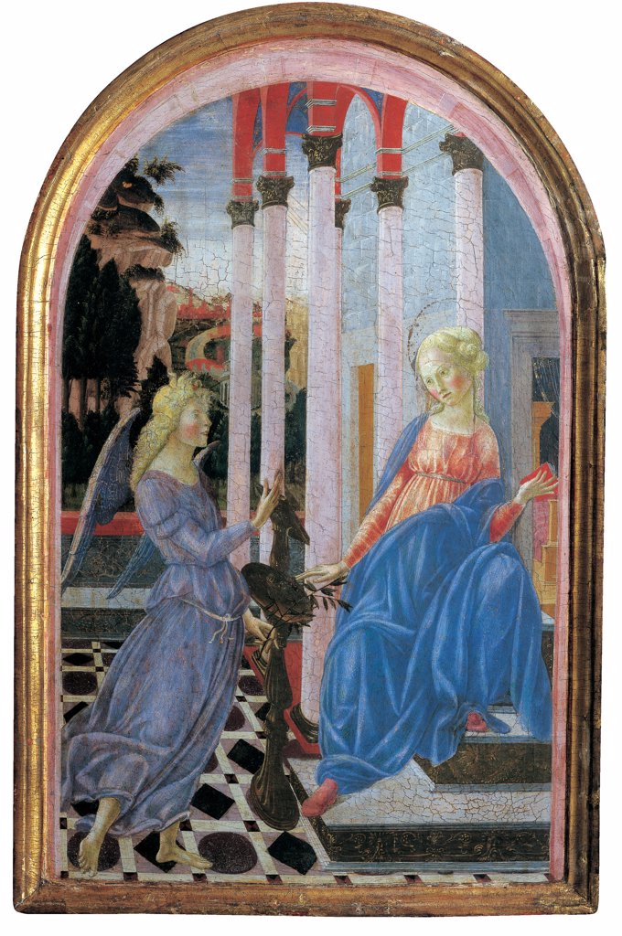 Stock Photo: 1899-46246 Annunciation, by Fiduciario di Francesco, Martini Francesco di Giorgio, 1470 - 1471, 15th Century, tempera on panel. Italy: Tuscany: Siena: National Gallery of Art: inv. n. 277. Whole artwork. Annunciation angel Madonna Virgin colonnade lily wings dress cloak/mantle blue red lectern floor