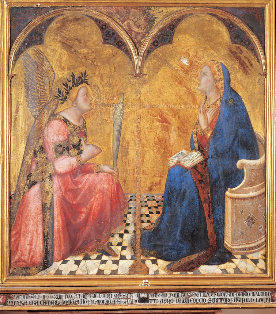 Annunciation, by Lorenzetti Ambrogio, 1344, 14th Century, panel. Italy: Tuscany: Siena: National Gallery of Art. Whole artwork. The Annunciation Virgin Mary sitting angel palm crown of laurel wings two-lights window small twisted/spiral column floor gold book mantle/cloak blue : Stock Photo
