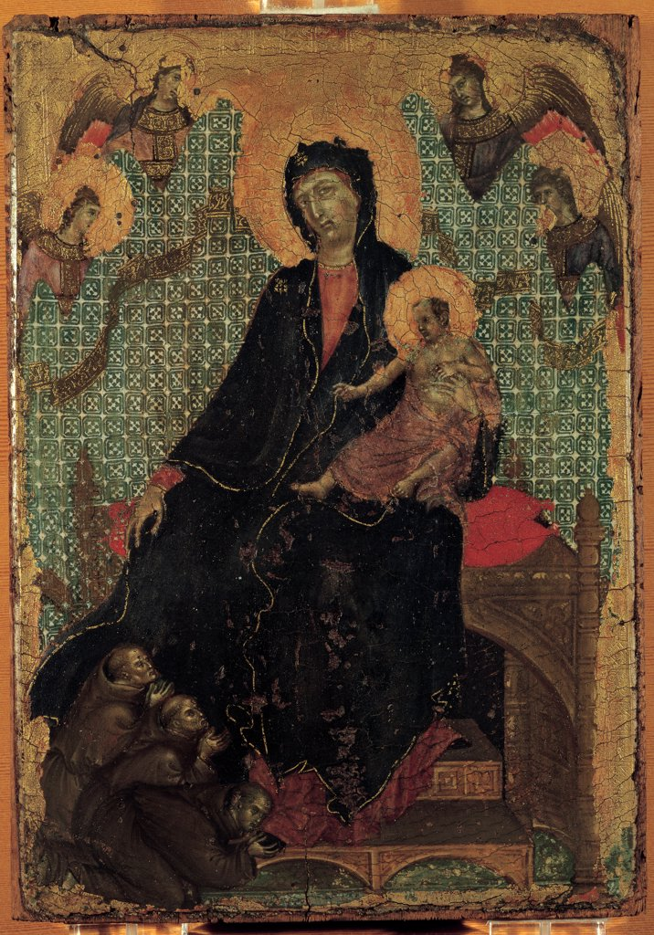 Stock Photo: 1899-46252 Madonna of the Franciscans, by Duccio di Buoninsegna, 1290, 13th Century, tempera on panel. Italy: Tuscany: Siena: National Gallery of Art. Whole artwork. Madonna angels Franciscan angels prayer Baby Jesus/Christ Child/Child Jesus throne gold background drape