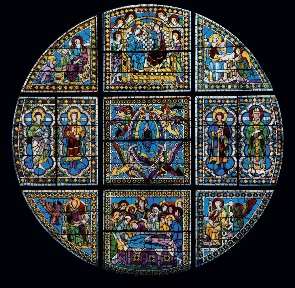 Window, by Duccio di Buoninsegna, 1287 - 1288, 13th Century, . Italy: Tuscany: Siena: Cathedral: Cathedral Santa Maria Assunta. Whole artwork. Stained-glass window of Our Lady of the Assumption Saints incoronation Evangelists death Virgin Mary light blue/azure red yellow : Stock Photo