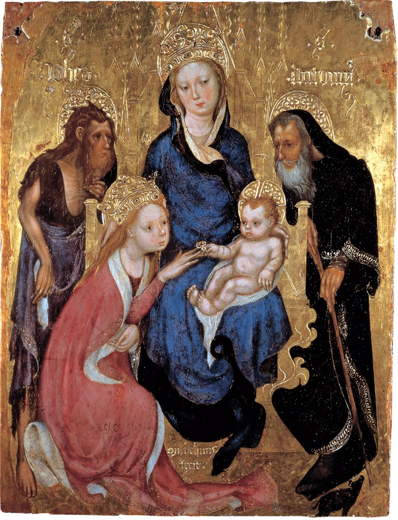 Mystical Marriage of St Catherine of Alessandria, by Michelino da Besozzo, 1420, 15th Century, tempera on panel. Italy: Tuscany: Siena: National Gallery of Art. Whole artwork. Virgin Madonna Mary Child Jesus/Baby Jesus/Christ Child golden throne gold background blue black red mantle/cloak mystical marriage st Catherine crown ring saints John Baptist fur hermit scroll Anthony stick : Stock Photo