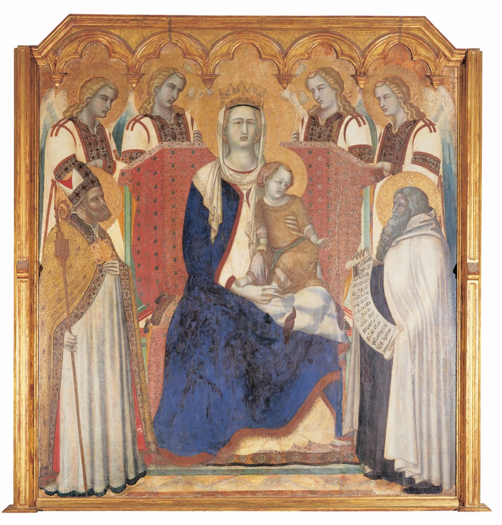 Carmine Altarpiece, by Lorenzetti Pietro, 1329, 14th Century, panel. Italy: Tuscany: Siena: National Gallery of Art. Whole artwork. Carmine Altarpiece Virgin Mary sitting angel crown wings gold parchment crosier/pastoral staff throne cartouche blue mantle/cloak : Stock Photo