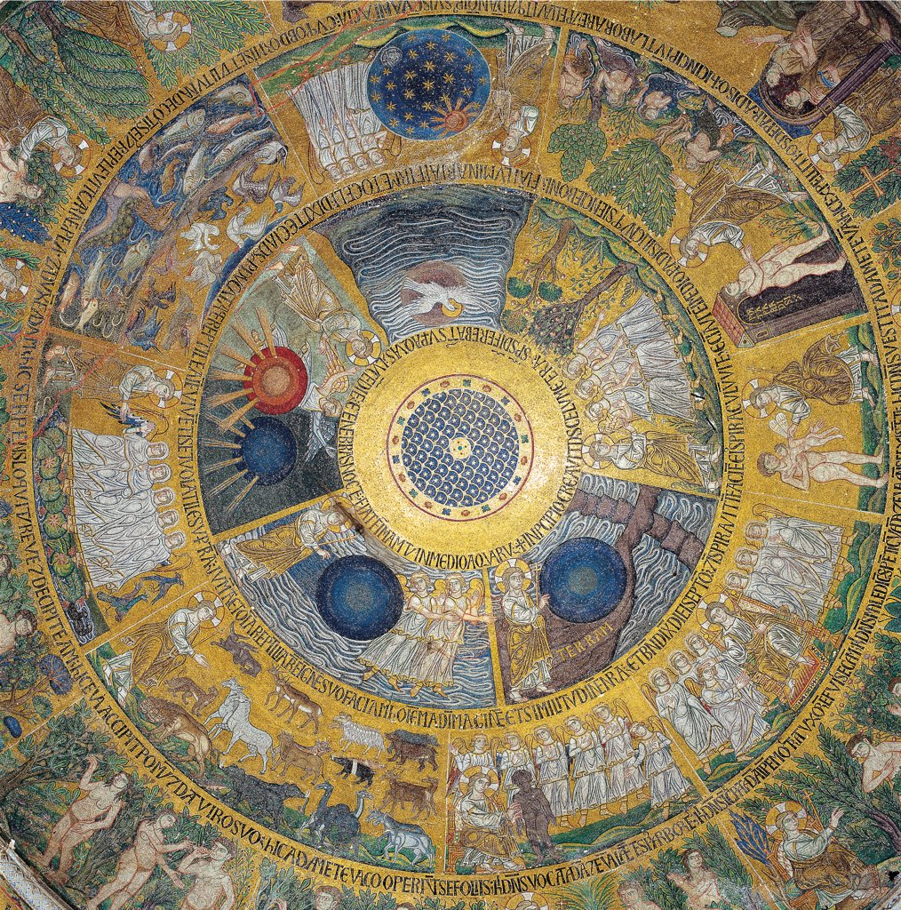 Stock Photo: 1899-46434 Cupola of the Creation or Genesis, by Unknown artist, 13th Century, mosaic. Italy: Veneto: Venice: San Marco Basilica: nartece occidentale. Whole artwork. Decoration cupola/dome golden background trapezoid sections of a circle concentric sequences starry central medallion Stories of the Genesis pendentives angels Seraphim Cherubim